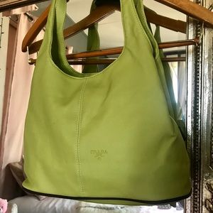 Bright green retro style purse